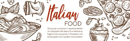 Pasta and pizza, Italian cuisine restaurant menu banner Иллюстрация