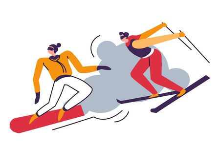 Winter sport, people skiing in mountains, skiers jumping Ilustracja