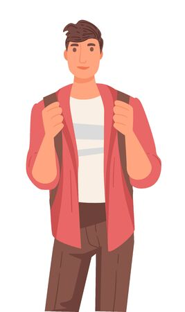 International university student, Native American guy with backpack, isolated male character vector. Indian boy in casual outfit carrying rucksack. Education and knowledge, multicultural college