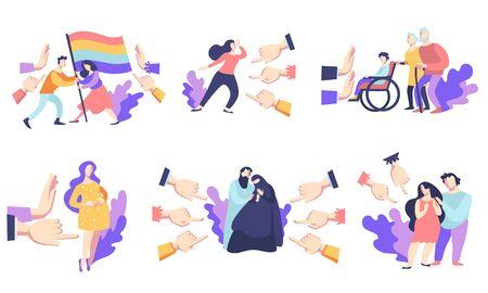 Discrimination sociale, désapprobation du public, intolérance raciale et de genre