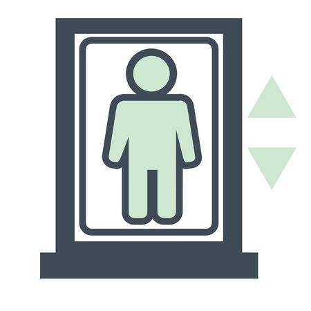 Hotel room conveniences, elevator or lift isolated icon