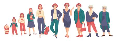 Woman in different ages isolated characters vector. Baby and toddler, kid or child, teenager and young girl, adult and elderly person, life cycle. Generation of people and human stages of growing up