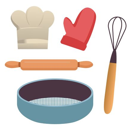 Baking tools, kitchen equipment, sieve and rolling pin, whisk and potholder