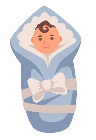 Newborn baby boy in blue blanket, human lifetime stage, aging concept, isolated icon vector. Life start, birth and growing up, new person born in world. Male child with hair curl wrapped with bow