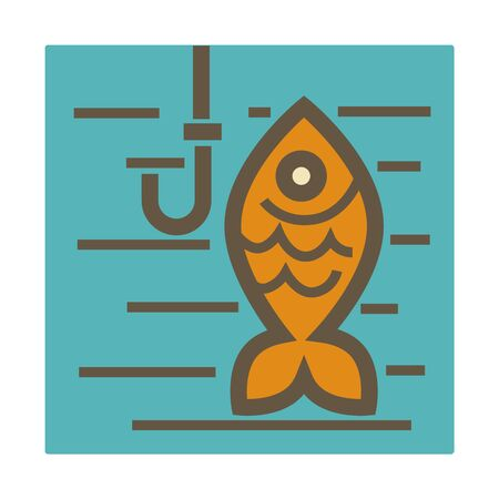 Fishing hobby isolated icon, golden fish and hook in water Archivio Fotografico - 142903465