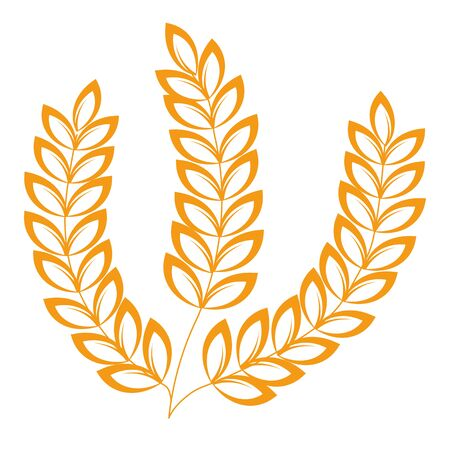 Spikelets isolated icon, wheat or barley, heraldic