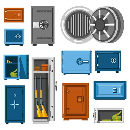 Steel boxes, saves or money storages, isolated icons