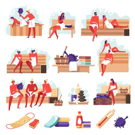 Sauna isolated icons, people bathing, spa salon tools Vektorové ilustrace