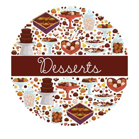 Desserts sweet dishes and bakery, chocolate and cookies