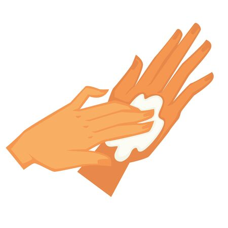 Female hands applying moisturizing lotion for skincare and treatment. Isolated palm of client and professional in spa salon. Cosmetics for skin smoothing in cosmetology, vector in flat style Vektorgrafik