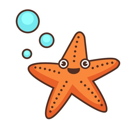 Funny starfish character, isolated personage with smile on face. Tropical aquatic animal with bubbles. Sea star with spots, eyes and facial expression. marine creature vector in flat line style
