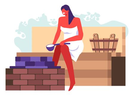 Female character washing in bathhouse or sauna with steam