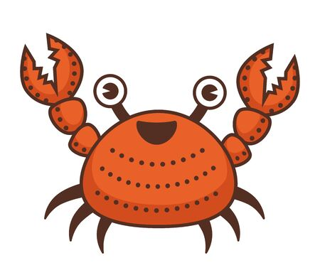 Crab cartoon character with claws and funny face