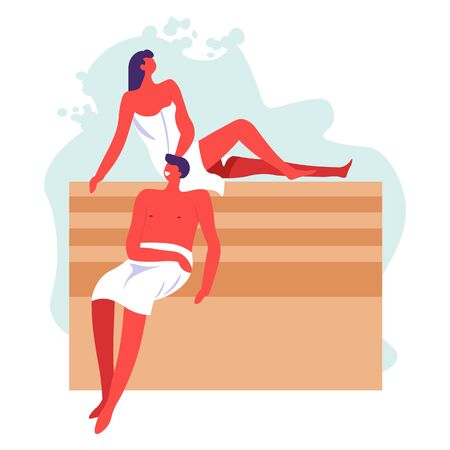 People relaxing in bathhouse together, man and woman wrapped in towels sitting on wooden benches. Therapy and treatment, husband and wife in spa russian or finnish sauna. Wellness and body care vector 向量圖像