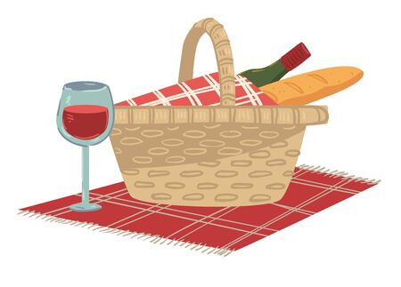 Wicker basket loaded with baguette and bottle of red wine. Isolated box with food for picnic, alcoholic drink and load of fresh bread. Dining at tranquil place, spending weekends, vector in flat