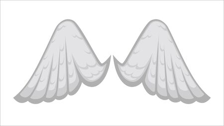 Wings of angel or bird, white avian or angelic plumage, isolated icon. Fantasy characters design, plumelets in tale for spiritual creatures. Decoration made of feathers, vector in flat style