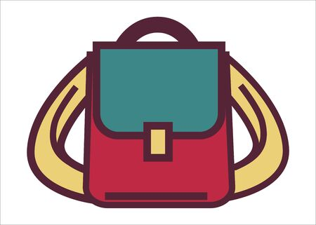 Backpack for traveling or voyages, camping bag with adjustable stripes. School satchel for pupil or student, baggage with personal belongings, compact touristic luggage. Vector in flat style  イラスト・ベクター素材