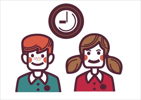 Schoolboy and schoolboy wearing uniforms waiting for end of lesson. Male and female characters and clock, isolated groupmates in school. Pupils or friends, smiling kids. Students vector in flat style Ilustrace