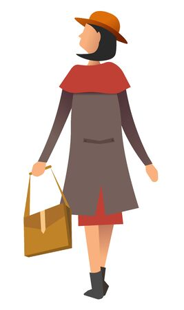Female wearing overcoat and holding handbag isolated on white. Back view of woman character in coat and cap with bag accessory waking outdoors. Person in outwear casual and trendy clothes vector