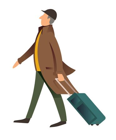 Old fashioned man walking with luggage, middle aged male character traveling with baggage. Voyager on journey wearing vintage clothes, serious personage from past century. Vector in flat