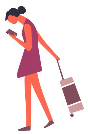 Traveling woman with baggage looking for right way in smartphone navigation app. Female checking email after long flight. Student using mobile phone for chatting, girl on journey vector in flat