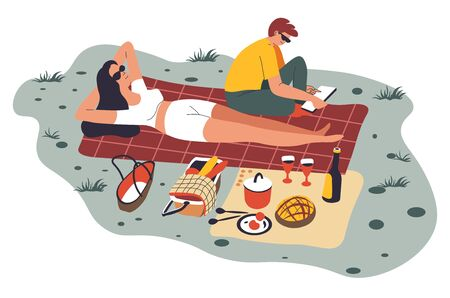 People on picnic relaxing on weekends or holidays. Man and woman spending time outdoors eating and resting, female character laying on blanket and sunbathing. Man reading book, vector in flat