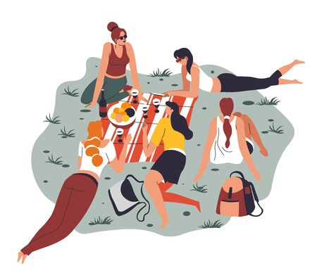 Female friends spending weekends outdoors on picnic. Women talking and communicating while drinking and eating snacks. Girls socializing, company of ladies relaxing on vacation, vector in flat 写真素材 - 143280086