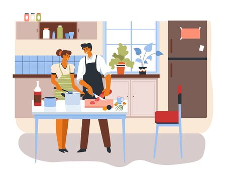 Brother and sister preparing food for family dinner. Married couple in kitchen, boyfriend and girlfriend cooking dish for breakfast. Husband and wife at home, interior of apartment, vector in flat 向量圖像