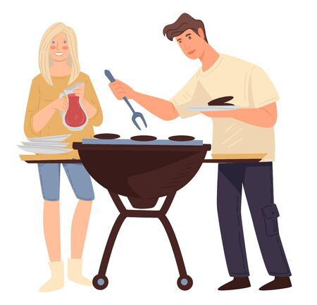 People grilling meat, couple cooking out. Man and woman preparing steak for picnic, boyfriend and girlfriend on barbeque. Brother and sister or friends spending weekends together, vector in flat style