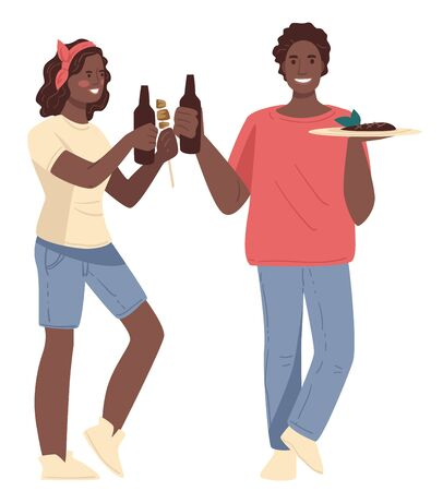 Friends women holding bottle and dish with meat. Smiling female characters with dark skin in casual clothes drink beer and carry plate with food. Picnic element with happy people going vector