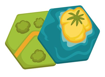 Card for board games, isolated hexagonal plates with land and water elements. Island with palm tree and forest with path, landscapes on boards. Isolated set of treasure maps for kids, vector