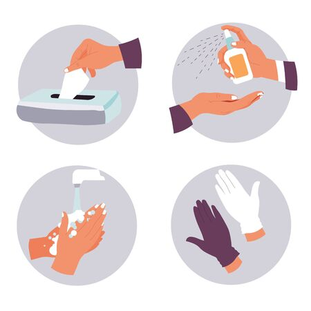 Coronavirus prevention measures and hygiene recommendations icons set Çizim