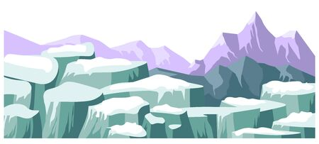 Panoramic landscape in winter, wintry scenery with rocks and mountains. Cliffs and rigid relief of surroundings, abandoned wild area with no people. Tranquil natural view vector in flat style