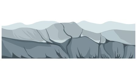 Landscape showing mountains and rocks of abandoned place. Scenery with gloomy atmosphere, surroundings with rigid relief and cliffs, wilderness area with rough ground texture. Vector in flat style Illustration