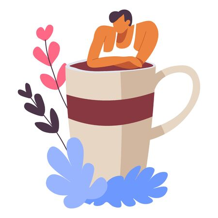 Male personage charmed by cup of freshly brewed coffee. Man enjoying energetic drink, decorative foliage and client of coffeeshop. Advertising of hot beverages, espresso and personage vector