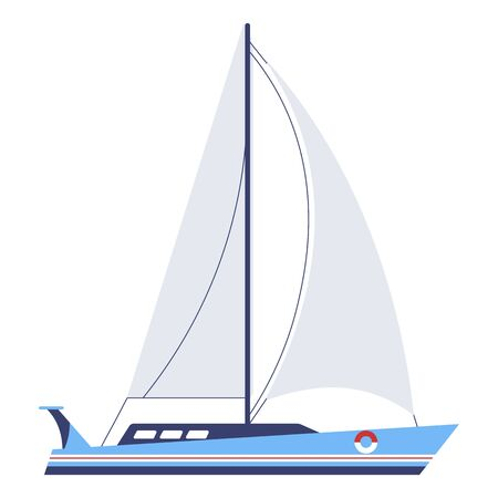 Yacht with sails or boat, nautical vessel vector