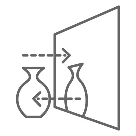 Mirror showing reflection of object, monochrome line sketch with explanatory lines. Perspective of vase in glass, architectural or engineering drafts or schemes for work. Vector in flat style