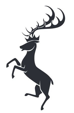 Wild stag or deer in motion , silhouette icon