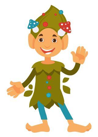 Friendly dwarf waving hand, gnome with mushrooms on head