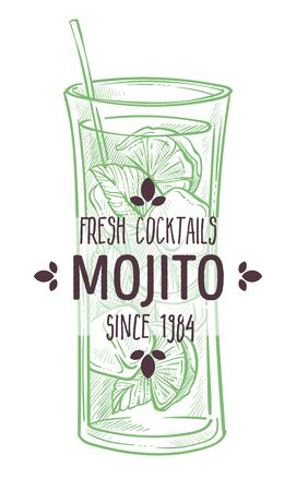 Mojito fresh cocktail with lime and mint vector