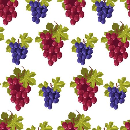 Ripe grapes bunches, seamless pattern of fresh branch