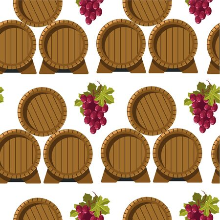 Wine brewery, barrels and grapes seamless pattern vector