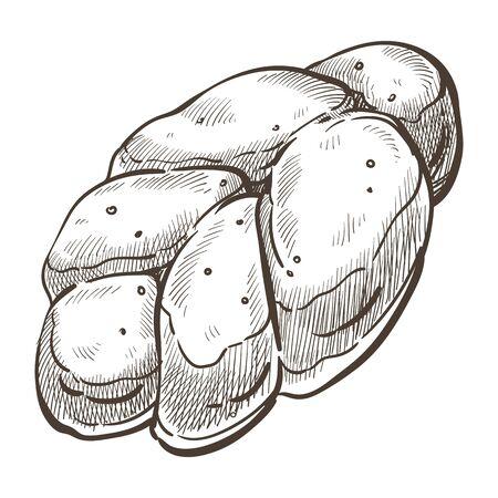 Loaf of sweet bread for dessert, bakery sketch