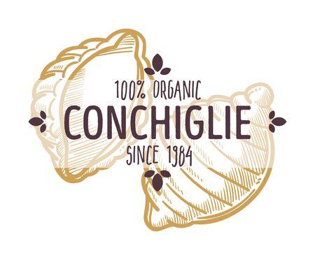 Conchiglie Italian pasta type, emblem for menu or product Stock Illustratie