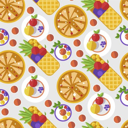Waffles with fruits and decoration, served dessert seamless pattern Illusztráció