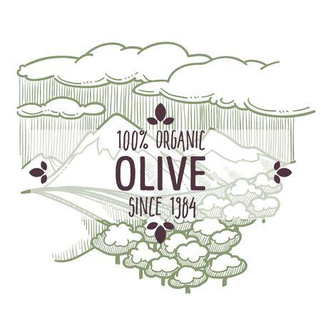 Olive plantation with trees and landscape, monochrome label Ilustración de vector