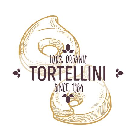 Tortellini type of pasta, kind of Italian macaroni, traditional food of Italy. Isolated label for product, icon for cook book or restaurant menu. Culinary traditions of european country, vector