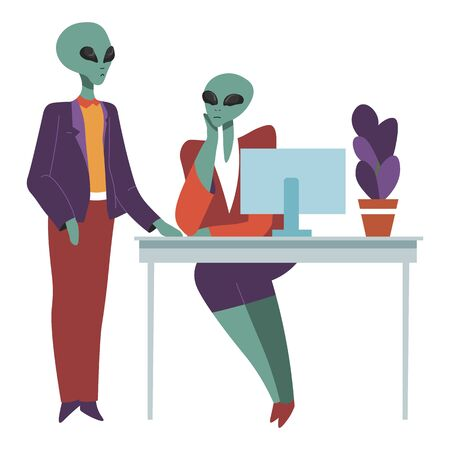 Aliens at work talking on working place, boss and secretary