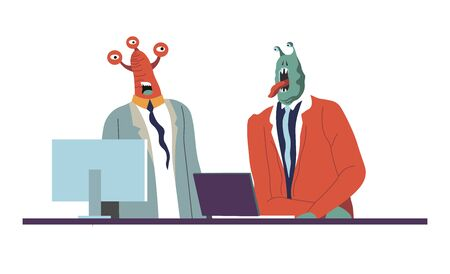 Official meeting of aliens, partners at work discussing business idea presentation on computer. Extraterrestrial character with funny appearance, monsters at job, personage vector in flat style Vector Illustration