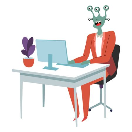 Alien working on project in office, extraterrestrial businessman, character wearing formal suit. Secretary typing info on keyboard. Workplace of space invader, monster with eyes, vector in flat